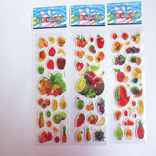 3pcs all different 3D Puffy Bubble Stickers Cartoon fruit Stickers for Kids Cute DIY Craft sticker for refrigerator/backpack(China)
