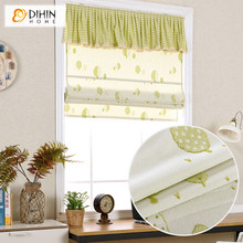 Included Curtains 2016 Garden Flower Green Environmental Roman Shade Blinds Custom Curtain free Shipping