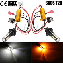 New 2x DC 12-24V T20 7440 66SMD 30W Car LED Light Dual Color Switchback Turn Signal Lamp Bulb Daytime Running Light DRL Canbus(China)