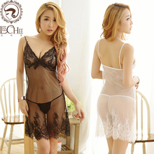 Buy Leechee Q738 Women sexy lingerie perspective lenceria Sexy Lace Babydoll Eroticism Dress Nightie erotic underwear porn costumes
