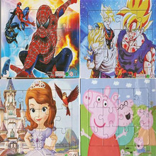 4 pcs/set Cartoon Paper Puzzles Snow White  Princess Sophia Spiderman Action Figures Education Jigsaw Kid Gift Toy