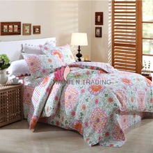 CHAUSUB 100% Cotton Quilt Set 4PCS Floral Printed Bedspread Bed Cover Duvet Cover Pillowcase Quilts Coverlet Quilted Bedding Set