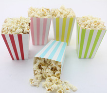 6pcs Popcorn box colorful chevron stripes dot Gold Gift Box Party Favour Wedding Pop corn kid party decoration bags loot