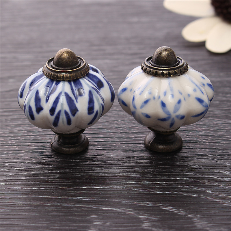 New 34mm Blue Leaf Hand Painted Ceramic Pumpkin Bedroom Cupboard Cabinet Knobs Door Drawer Furniture Handle Pulls(China)