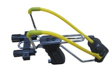 Hunting Fun Strong Slingshot with Xenon Flashlight & Laser Sight Built-in Ammo Storage Iron Frame Slingshot