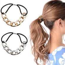 Fashion Hair Tie Scrunchy Metal Chain Headband Elastic Hair Band Headwear Rubber Bands Women Girls Hair Accessories