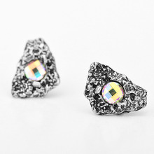 8SEASONS Ear Post Stud Earrings Antique Silver / Bronze AB Color Irregular Faceted Stone Shaped Mystical Party Jewelry 1 Pair(China)
