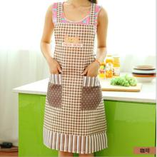 Cute Women Kitchen Aprons Pocket Linen Waterproof Cartoon Letter and Bear Pattern Apron delantal Household Accessories Avental(China)
