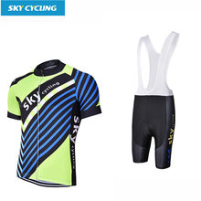 Sky Cycling 2017 Breathable Bike Clothing Bib Short Sleeves Cycling Jersey Sets Quick Dry Bicycle Sportswear for Men and women