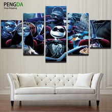 Wall Art Painting Canvas Picture For Living Room Prints 5 Panel Nightmare Before Christmas Movie Posters Home Decor Frame PENGDA