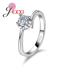 PATICO Fashion Design Smooth 925 Sterling Silver Rings Zircon CZ Crystal Engagement Ring For Woman Romantic Wedding Gifts