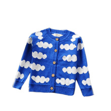 The new trend of the spot the latest explosion of children and babies knitted Cardigan Sweater Dress Custom cloud pattern