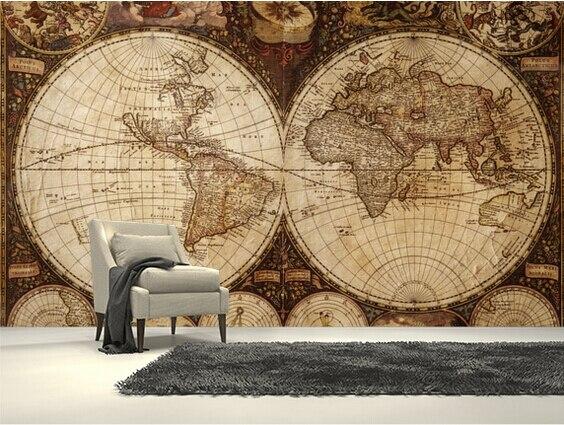 Custom childrens wallpaper,Vintage World Map,3D cartoon murals for the living room bedroom childrens room wall papel de parede<br>