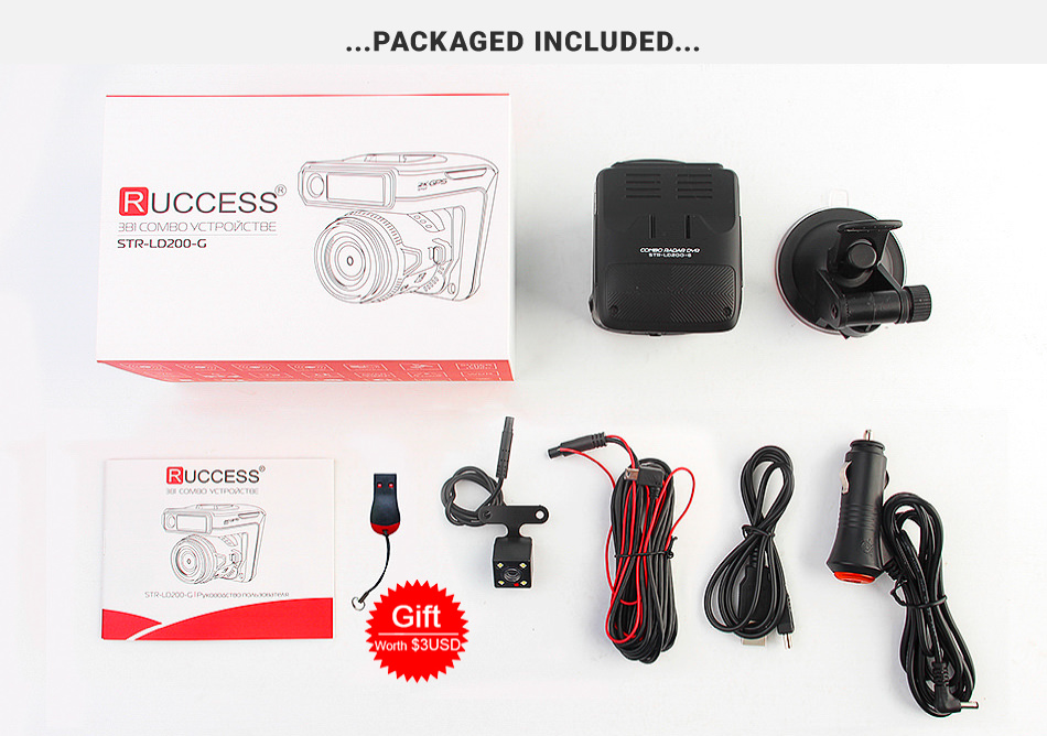 Ruccess STR-LD200-G 3 in 1 Car DVR Radar Detector Laser With GPS Full HD 1296P 1080P Dual Recorder Dash Camera Front and Rear (1)