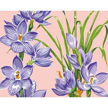Hot Narcissus purple flower Painting By Numbers Hand Painted Canvas Oil Paintings with frame Wall pictures For Living Room DY233(China)