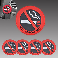 "Car 5Pcs Rubber "" No Smoking "" Warning Sign Labels Decals Vehicle Truck Sticker FOR Mercedes Benz W212 Audi Toyota Nissan VW Kia"