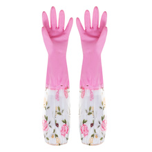 Durable Waterproof Winter warm long sleeve rubber gloves Dishes Cleaning latex gloves washing for wife MOM'S gifts(China)