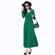 autumn dress women 2017 fashion casual maxi dress plus size black dresses sun party ladies elegant Long sleeves long dress LU301(China)