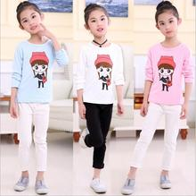 Promotion new style Children girl's 2017 Spring Autumn long sleeve with color girl pattern O-neck cotton t-shirt  3colors TZ02