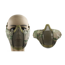 Hot sale Tactical PDW Metal Mesh Half Face folding Mask Hunting Protective Airsoft Mask CS Game Paintball Mask(China)