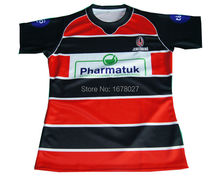Fully Sublimated Stripes Rugby Jerseys with Embroidery Logos MOQ 60sets