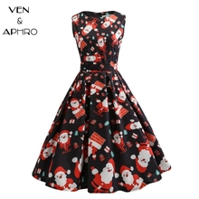 VA Printed Vintage Dress Women 2017 floral printed Slim Dress Fashion Knee-length Sleeveless Dress Vestidos christmas dress(China)