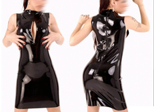 Buy Summer dress 2015 Sexy black bodycon latex summer dress chest zip design club wear costumes vestidos plus size hot sale