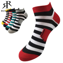 New Spring/Summer Short Striped Men Socks Male Casual Colorful Brand Harajuku Socks For Men Cotton Low Cut Ankle Socks/5Pairs