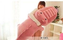 big plush pink crocodile toy stuffed cartoon Chinese alligator pillow birthday gift about 150cm
