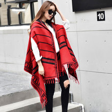 New Arrival Winter Women Ponchos And Capes High Quality Cashmere Ladies Shawl Cap Poncho Pashmina Thick Striped Scarf(China)