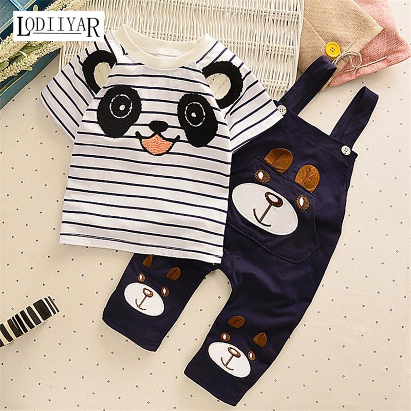 Childrens Clothing Sets Baby Boys Girls Short Sleeve Top + Suspender Pants Suit Cartoon Panda Pattern Clothing Set 2017 Summer <br><br>Aliexpress