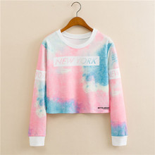 New Design European style round neck pullover long sleeve color space printing women fashion short paragraph Sweatshirts
