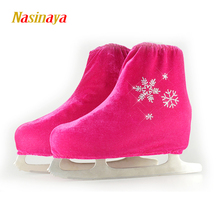 24 Colors Child Adult Velvet Ice Figure Skating Shoes Cover Solid Color Roller Skate Accessories Athletic Rose Red Snow Pattern(China)