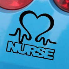 Nurse Heart  Love Artistic Heart Shape Car Sticker for Motorhome SUV Motorcycles Door Car Decor Reflective Vinyl Decal 10 Colors