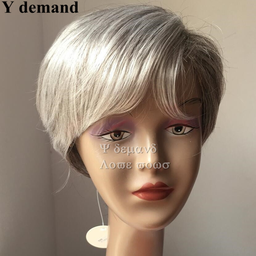 Short hairstyles Gray white mix color brazilian malaysian man/women Tone Color Light Grey straight bob for old man wig<br><br>Aliexpress