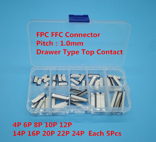 50pcs FFC FPC connector 1.0mm 4/6/8/10/12/14/16/18/20/22 Pin Top Contact Flat Cable Connector Socket Sets