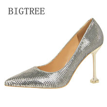 BIGTREE 2018 Women Pumps Bling High Heels Women Pumps Glitter High Heel Shoes Woman Sexy Wedding Party Shoes Gold Silver 1716-21(China)