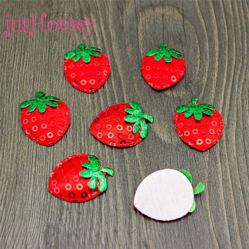 30 Red Padded Felt Strawberry Hand-Sewn Pearls Appliques DIY