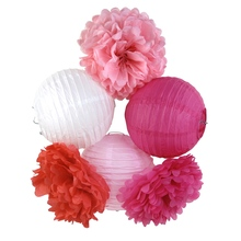 (Coral,Pink,White) Party Decoration Set Paper Crafts (Paper Lantern,Pom Pom) Wedding Baby Shower Girl Party Nursery Decoration(China)