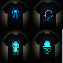 Kids Summer Short Sleeve Tops Boys Girls T-shirts Children Clothing Hip Hop Neon Print Party Club Night Light Punk Teenager Tees(China)