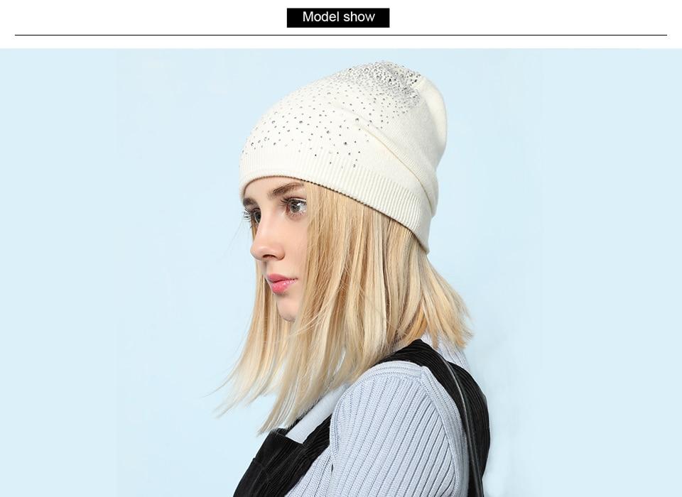 Ralferty Women's Hats Shiny beads Beanies Skullies Street Fashion Autumn Winter Hats For Women Thick Double Layer Caps Casual 2