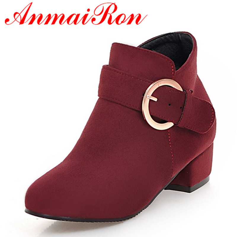 ANMAIRON Large Size 34-43 Square Heels Round Toe Ankle Boots for Women Zippers Buckle Spring Autumn&amp; Winter Boots Casual Shoes<br>