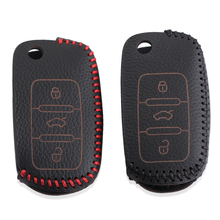 Leather Key Cover Case Bag Keyless Fit For Volkswagen Jetta Beetle Golf 4 5 6 Tiguan Caddy Touran Scirocco Polo Bora Passat(China)