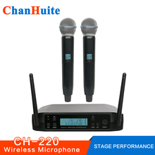 Dual Handheld Wireless Microphone System UHF Frequencies Adjustable Professional Cordless Mic 2 Channels for Karaoke Live Show(China)