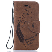 Feathers Fly Stand Flip Wallet Leather Case For Apple iPhone 5 5S SE 6 6S 6 6S Plus 7 Holder Card Slots Cover Shell Funda Capa