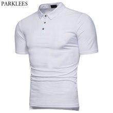 b804fa92ab Moda Diária Básica Branca Camisa Pólo Homens 2018 Marca New Magro Fit  Camisas Manga Curta Polo Casuais Mens Top Verão Camisas .