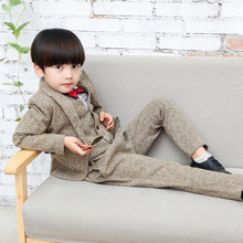 vest+blazer+pants+blouse 2017 4 pcs boutique clothing gentleman style boys wedding suits long sleeves kids formal clothing sets(China)
