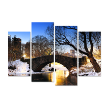 4 Pieces Landscape Canvas Wall Art New York Central Park In Winter With Bridge Over Lake Snow Bule Sky Picture Print On Canvas(China)