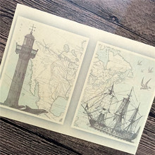 "hot sale RMJ-043 retro kraft paper ""Boats and lighthouse"" wall stickers home decor living room poster sticker for kids 42x30 cm"