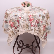 European Mediterranean Tablecloth Cotton Linen Romantic Floral Stamps Vintage Table Cover Wedding Party Christmas Table Cloth